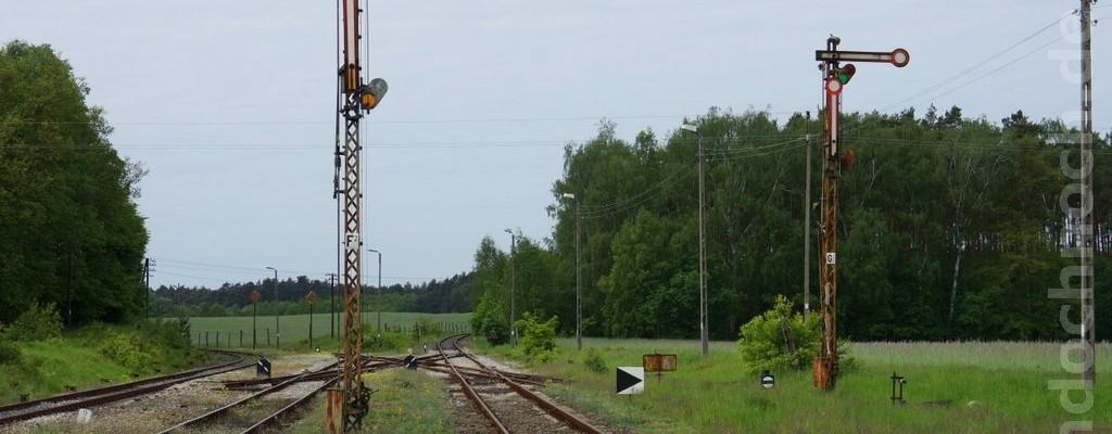 Signale und Gleise im Bahnhof Wierzbno