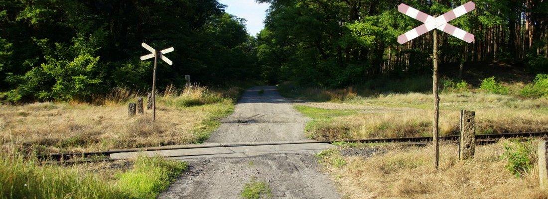 Bahnübergang und Ausweichstelle bei Szczawno