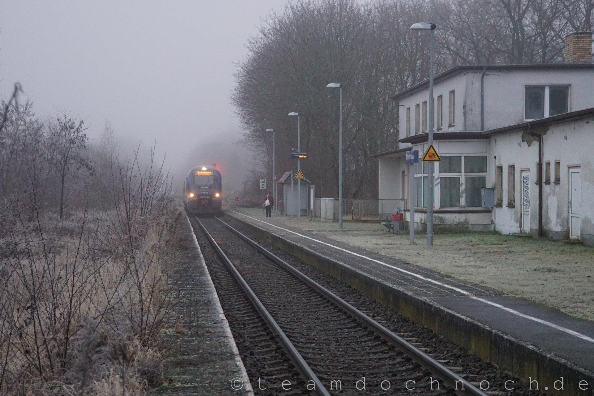 Triebwagen BR632 der NEB in Doppeltraktion im Bahnhof Trebnitz