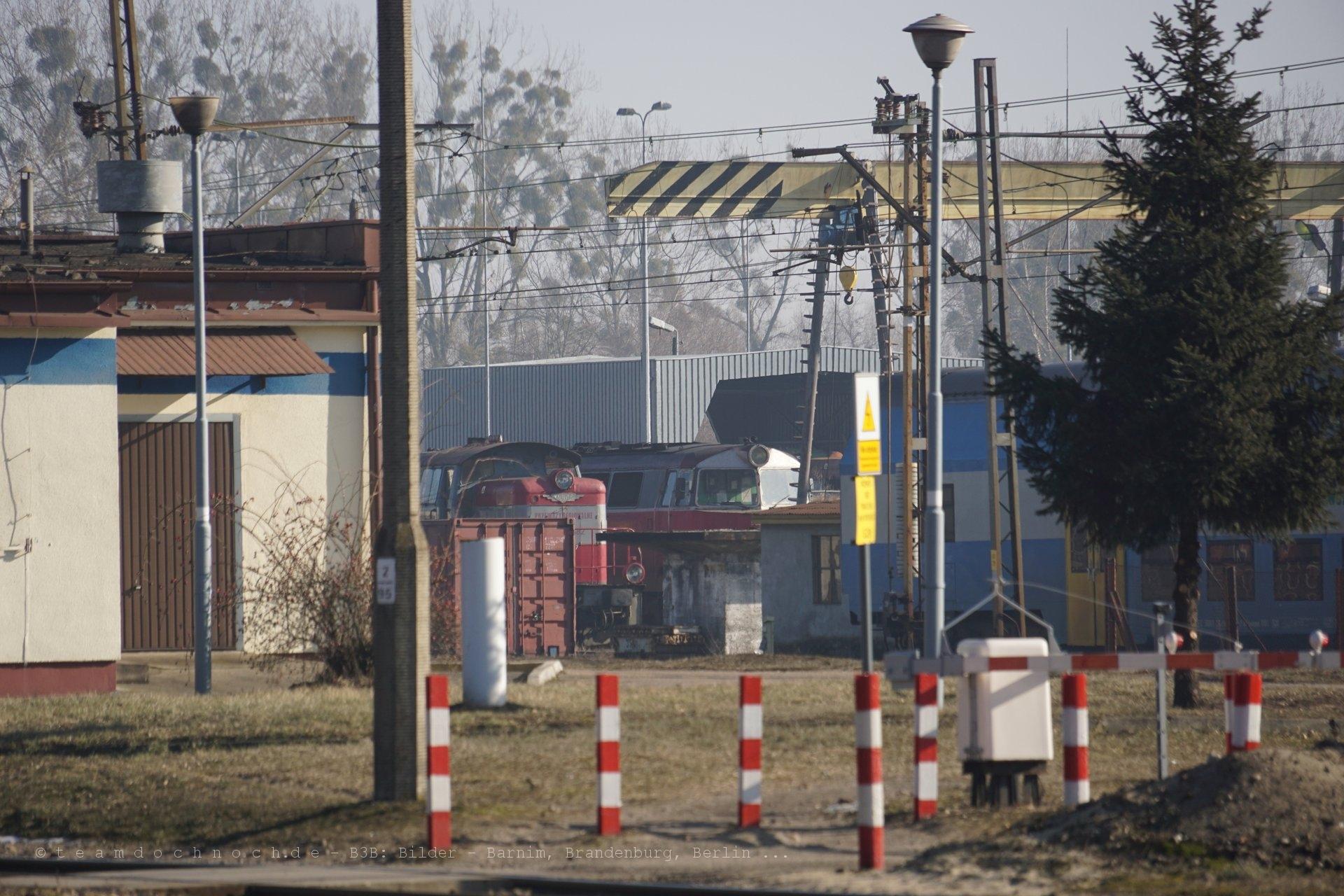 Ein Blick auf die leeren Gleise des Bahnhofs Krzyż Wielkopolski