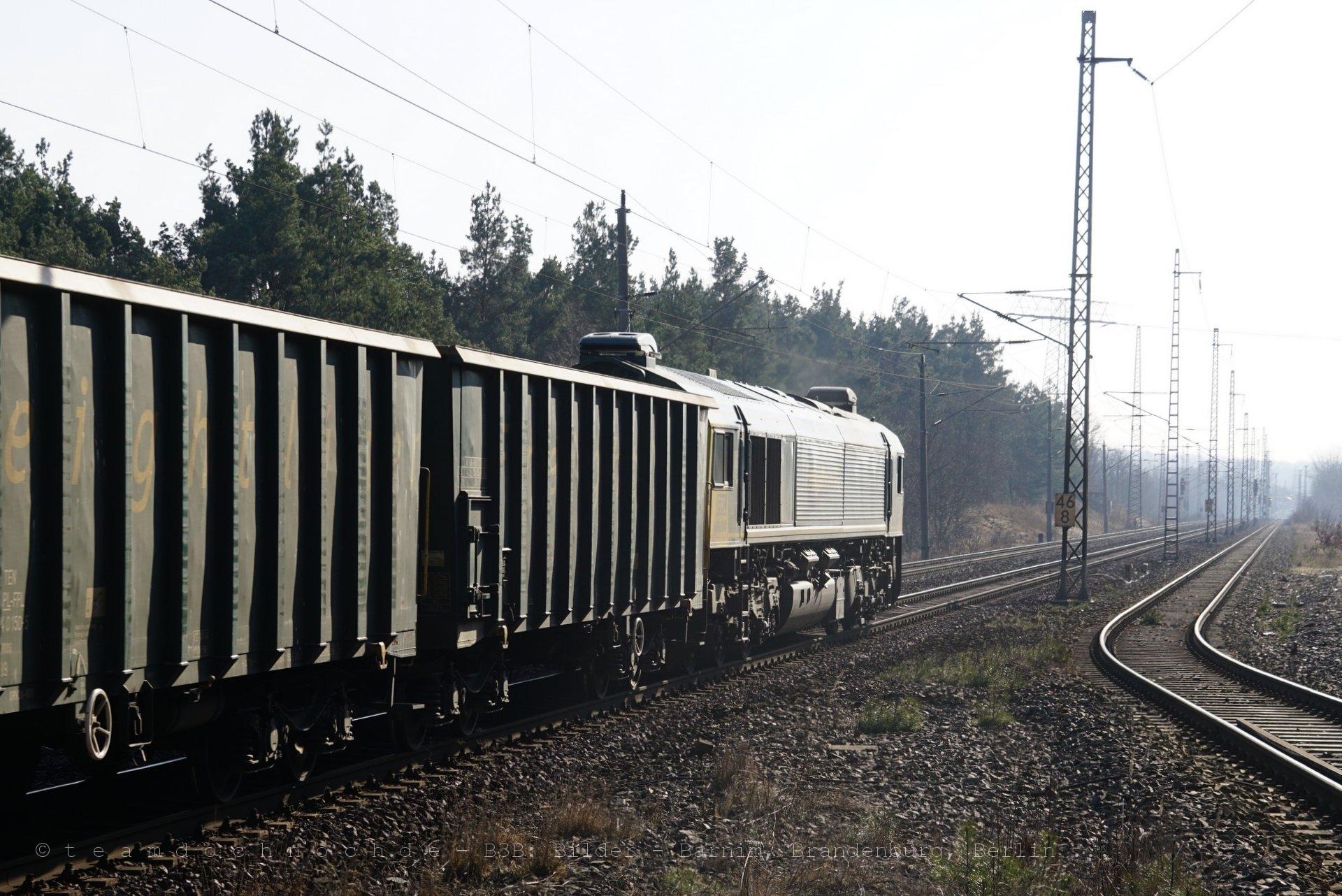 Die Class 66 im Gegenlicht und einige ihrer Eamnos