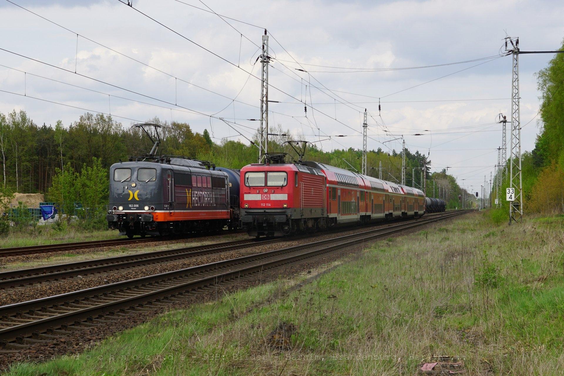 RE3 mit 112 114 überholt Hectorrail 162.006 in Biesenthal