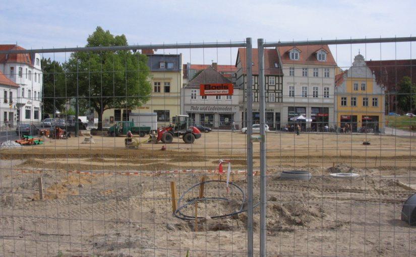 Bauarbeiten auf dem Marktplatz Eberswalde