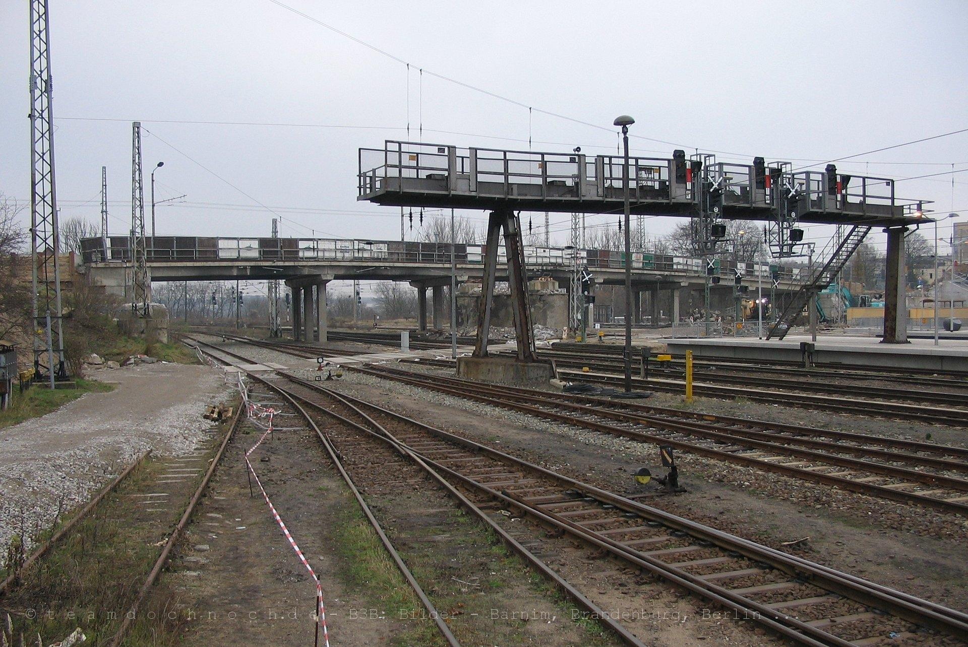 Signalbrücke am Bahnhof Eberswalde