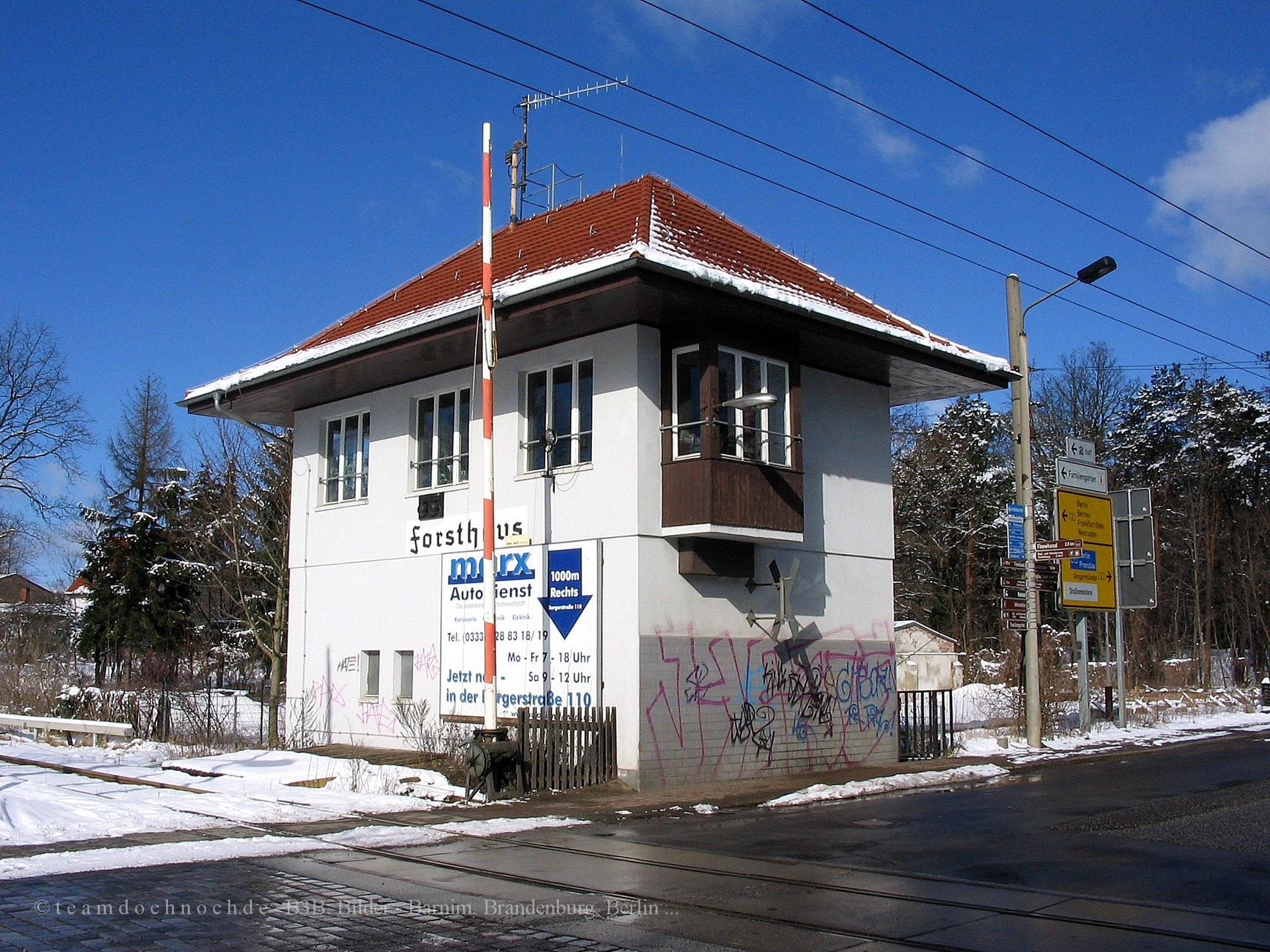 Bahnübergang Forsthaus in Eberswalde Nordend