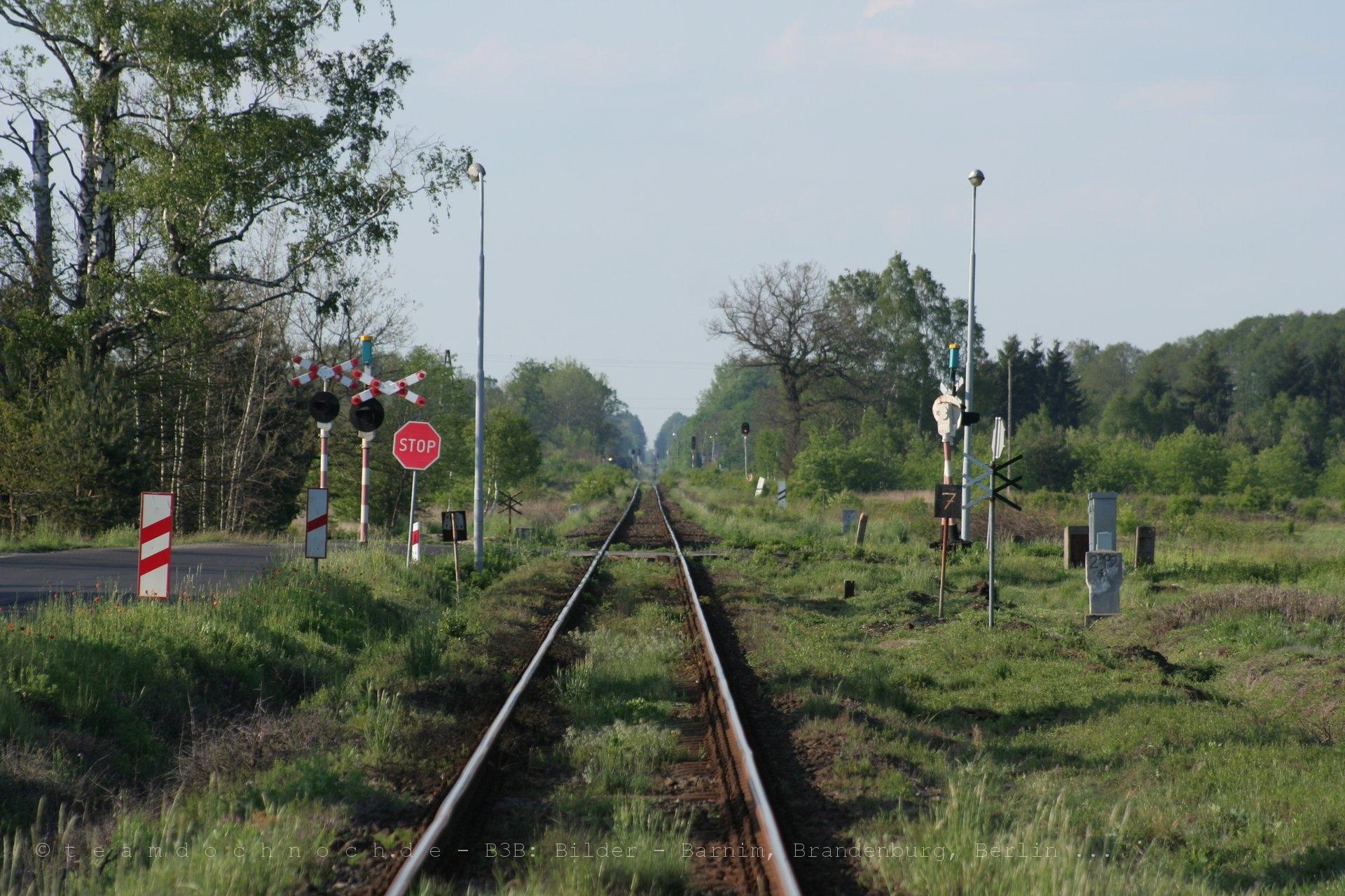 Bahnübergang an der Bahnstrecke Miłkowice–Jasień