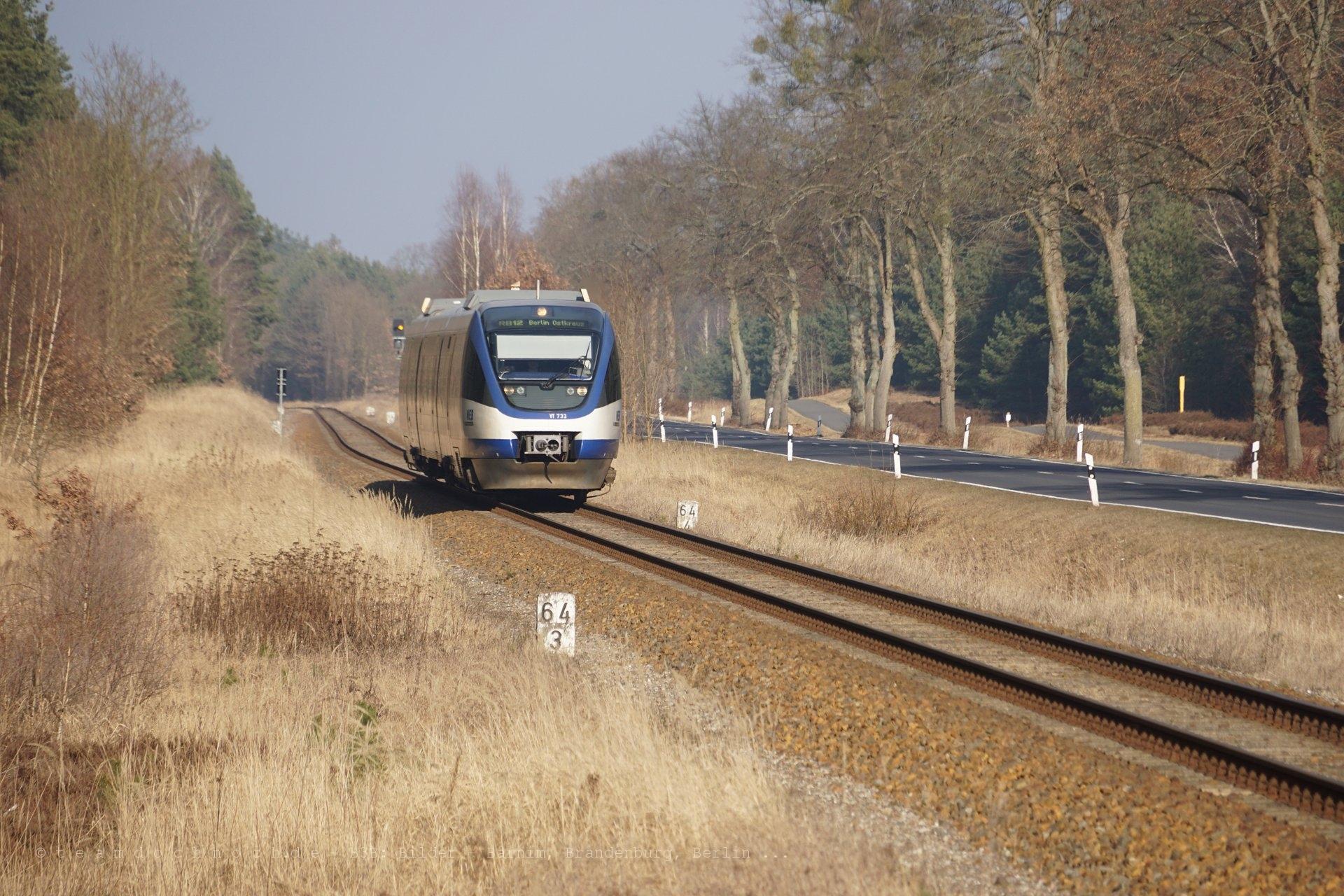 VT 733 der NEB kurz vor Zehdenick-Neuhof
